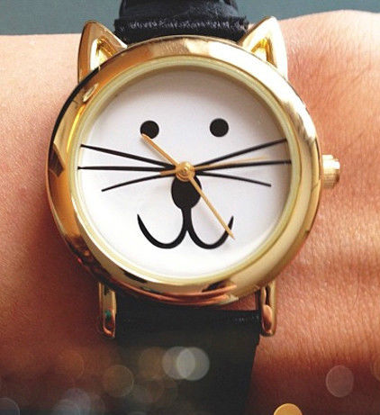 NEW! REALLY CUTE - CAT FACE Designer WRIST WATCH with Black Strap - FABULOUS!   eBay