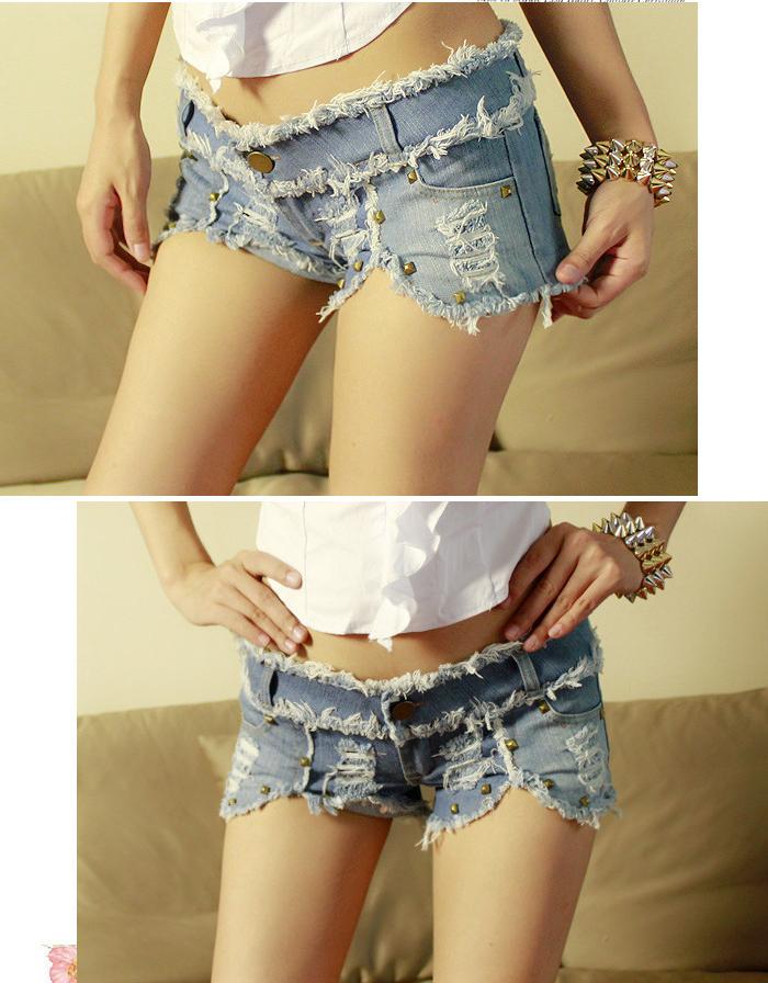 Sexy Low-Rise Studs Detail Denim Shorts For Women, Shop online for $14.00 Cheap Denim Shorts code 720441 - Eastclothes.com