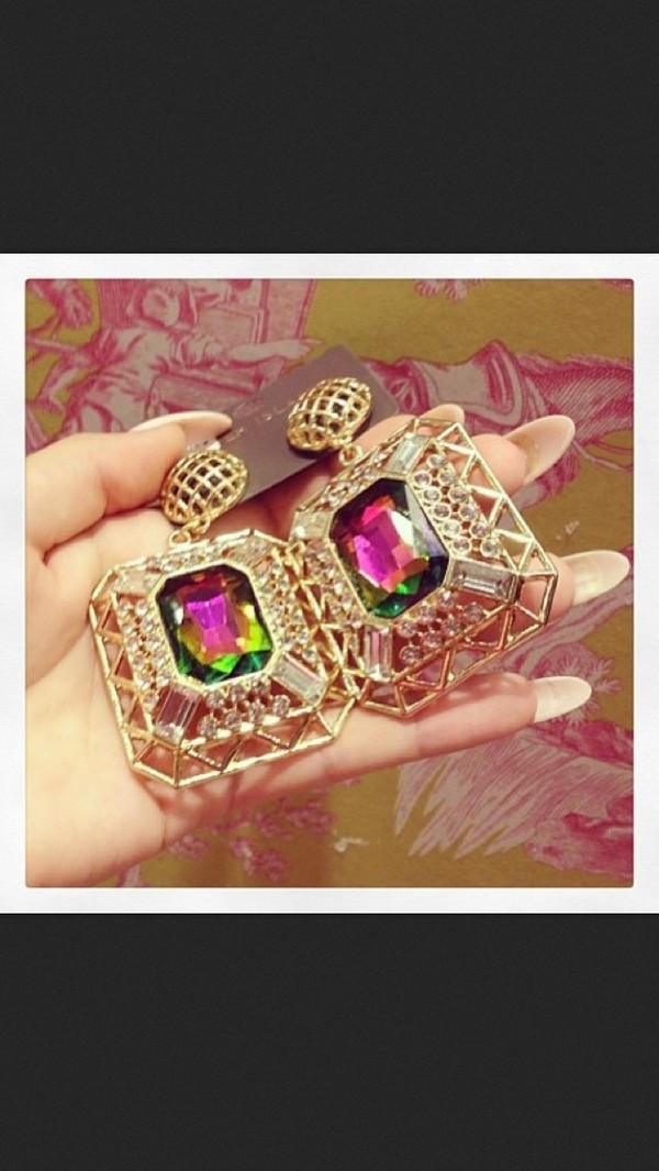 jewels gold earrings jewelry pink green