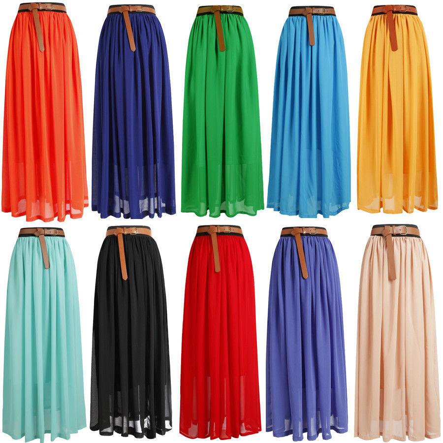 Hot Women Double Layer Chiffon Pleated Retro Long Maxi Dress Elastic Waist Skirt   eBay