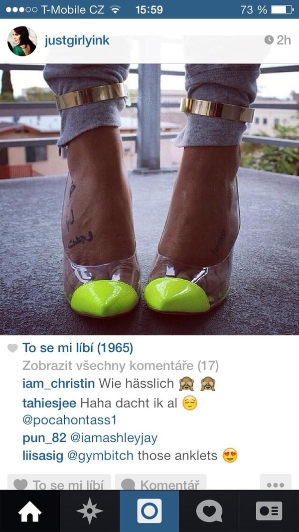 Neon Yellow Clear Ankle Strap Heels @ Amiclubwear Heel Shoes