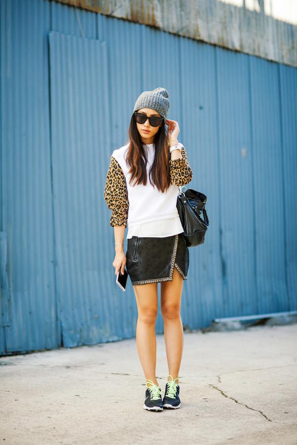 neon blush sweater skirt bag hat shoes