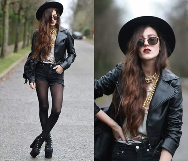 hat fall outfits jacket jewels sunglasses
