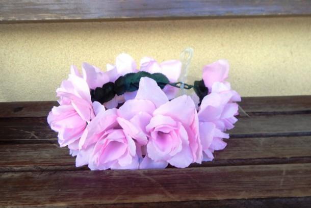 hair accessory pink rose flower crown pink roses flower crown floral halo hippie hippie chic hippie headband