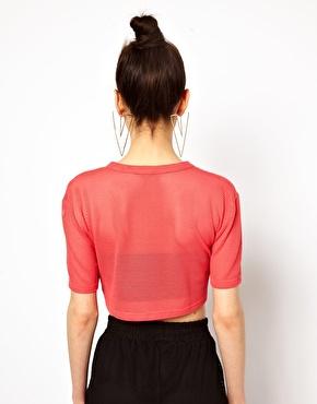 Aqua | Aqua Cropped T Shirt With Logo In Basket Mesh Jersey at ASOS