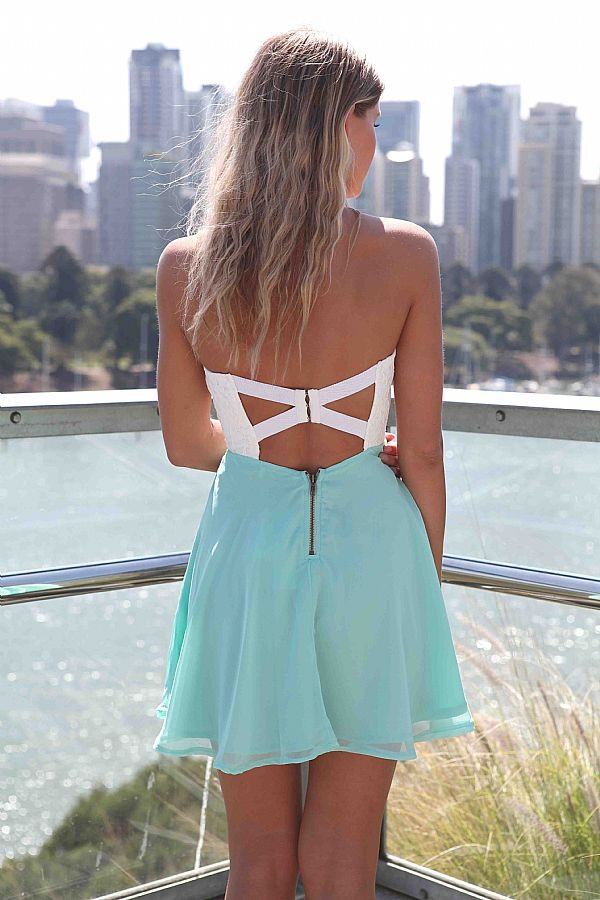 Teal/Turquoise Strapless Dress - White&Teal Strapless Dress with Lace   UsTrendy