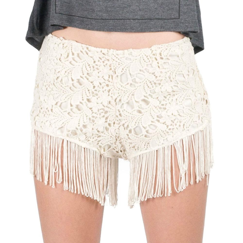 Cream Ivory Curtain Fringed Bottom Crochet High Rise Hippie Festival Shorts SML   eBay