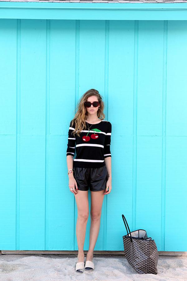 the blonde salad shorts sweater jewels bag sunglasses