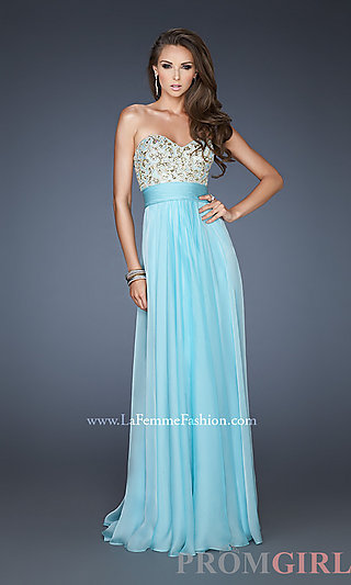 Prom Dresses, Celebrity Dresses, Sexy Evening Gowns - PromGirl: Long Strapless Empire Waist Gown