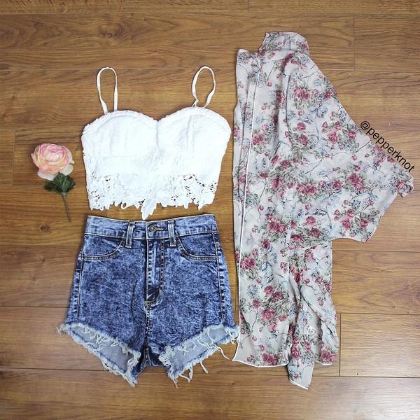 shorts kimono High waisted shorts lace crop top blouse cardigan