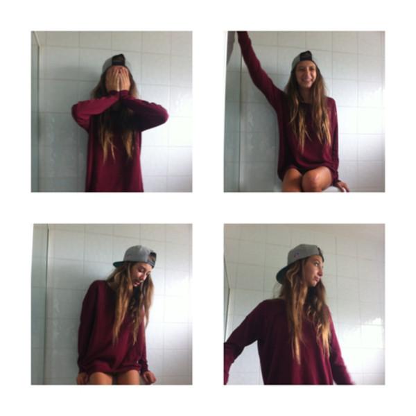 sweater tumblr cute sweaters burgundy sweater