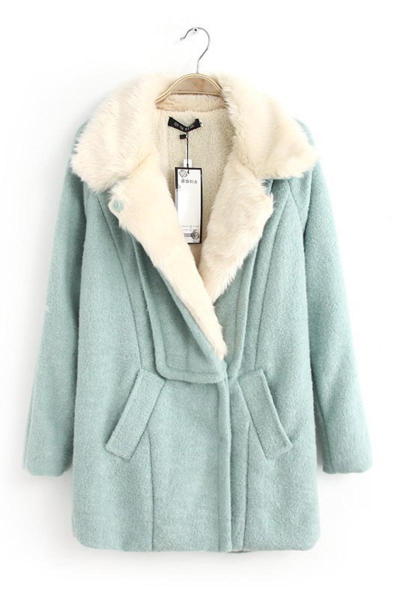 Fur Collar Slim Thickening Woolen Overcoat,Cheap in Wendybox.com