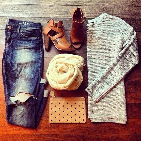 shoes caramel shoes high heels sweater scarf