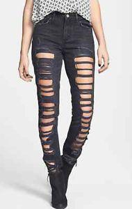 Levi Shredded Black High Waist Skinny Jeans | eBay