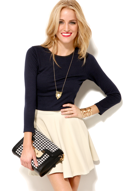 Knit Crop Top in Navy