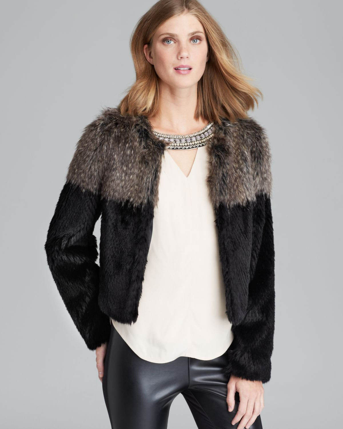 Twelfth Street by Cynthia Vincent Jacket - Two Tone Faux Fur | Bloomingdale's