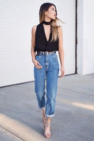 jeans cuffed jeans straight jeans black top sexy top nude sandals date outfit outfit idea summer outfits v neck sandal heels jewels absolutemarket blue jeans top choker top sleeveless top sandals high heel sandals grey sandals