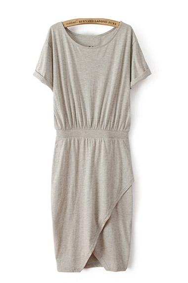 O-neck Asymmetrical Hem Short Sleeve Dress