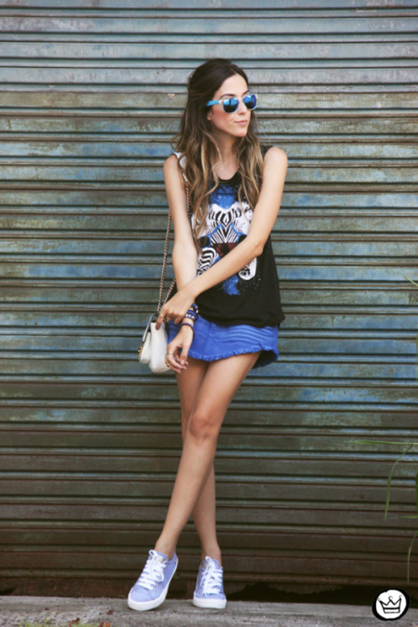 fashion coolture t-shirt skirt bag sunglasses shoes