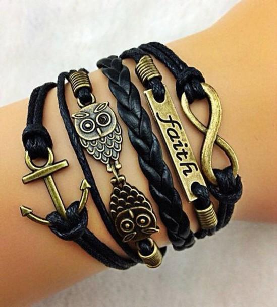 jewels black bracelets gold bracelet bracelets leather owl infinity bracelet