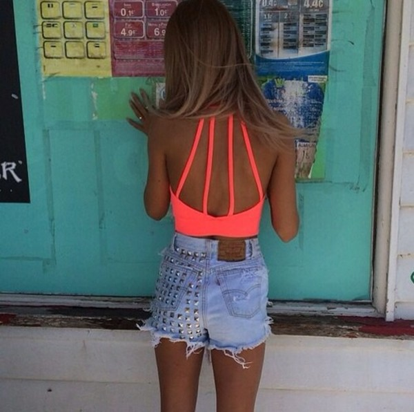 tank top coral pink neon crop tops open back high waisted denim shorts studs tanned girl summertime shorts shirt neon shirt crop tops