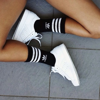socks adidas shoes black white stan smith superstar white shoes trainers white sneakers adidas shoes sneakers ghetto sporty knee high socks adidas superstars adidas originals logo unisex aesthetic addids black adidas black or white cute socks stripes black and white tennis shoes