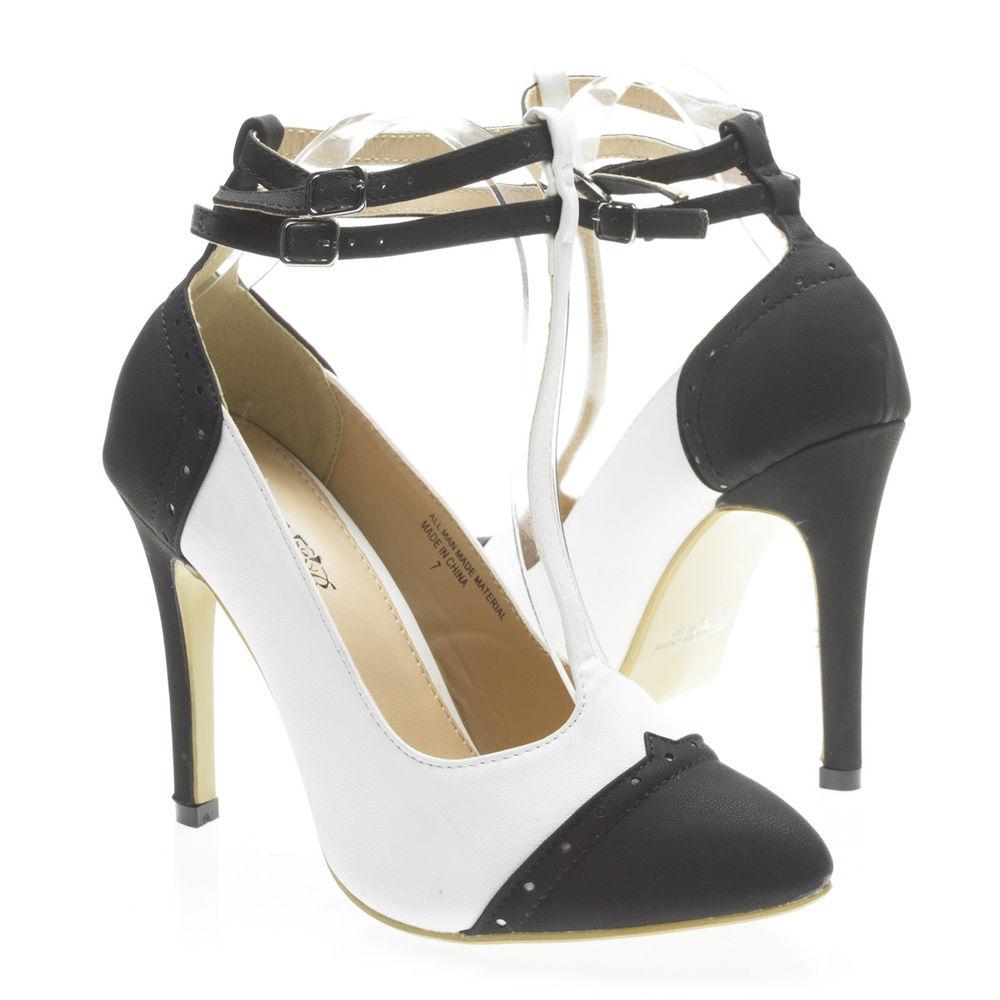 Women Black White Pointy Toe Ankle T Strap Mary Jane High Heel Stiletto Pump 6.5   eBay
