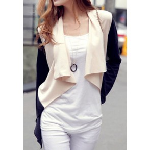 Contrast Color Waterfall Collar Fashion Open Front Jacket Coat   for big sale!