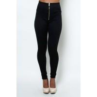 LoveMelrose.com From Harry & Molly | High waisted front zipper pant leggings black from Love Melrose - PANTS - BOTTOMS