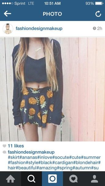 skirt pinneapple black skirt blouse black top