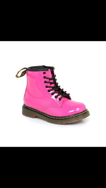 shoes hot pink shoes lace up ankle boots