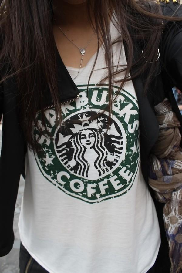 shirt starbucks coffee wjite white tank top jacket tank top green starbucks coffee necklace t-shirt