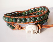 Beaded Leather Bracelets Necklaces with Gems par RopesofPearls