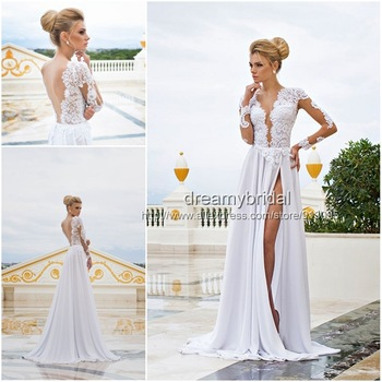 Aliexpress.com : Buy Vestidos De Noite See Through Long Sleeve Elegant Mermaid Satin white Lace Long Wedding Dress 2014 Bridal Gown with gold belt from Reliable dress xs suppliers on Suzhou dreamybridal Co.,LTD