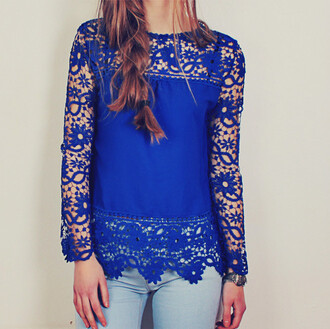 blouse blue crochet cobalt floral spring