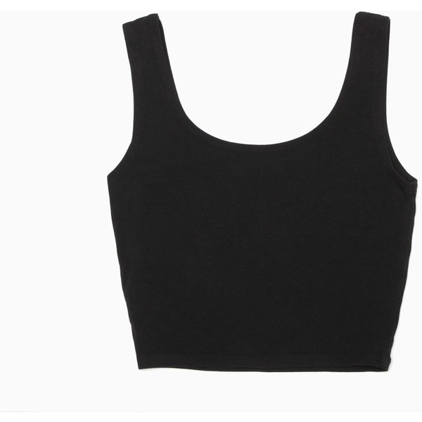 Premium Basic Fitted Crop Tank (Black) - Polyvore