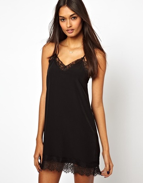Oh My Love   Oh My Love Cami Mini Slip Dress with Eye Lash Lace at ASOS