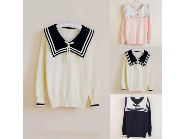 sweater sailor sailor collar sailor sweater japanese japanese fashion kawaii sweater harajuku asian asian fashion style fashion kawaii outfit