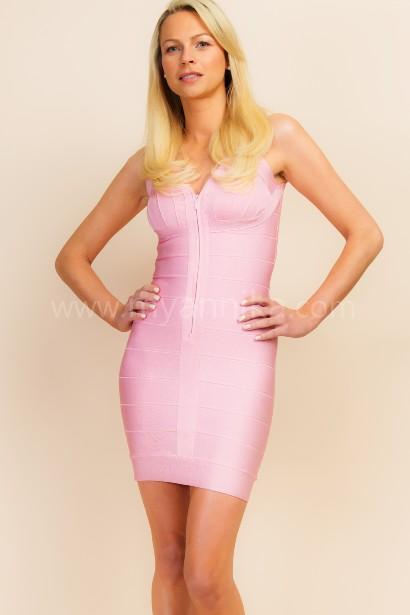 Vegas - Pink V-Neck Short Sleeve Bandage Dress with Front Zipper Annika - Bandage Dresses | Celebrity Party Dresses | Herve Leger Dresses Bandage dress detail
