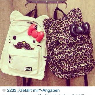 bag cats hello kitty leopard print white cute pink moustache