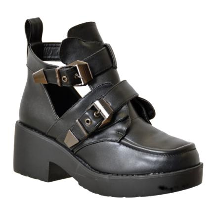 Two Buckle Open Ankle Boot - Black: Black - £40.00 - Ankle Boots from Peppermint