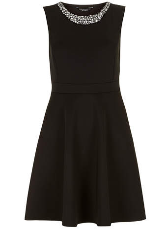 Black neoprene skater dress - View All Dresses - Dresses - Dorothy Perkins