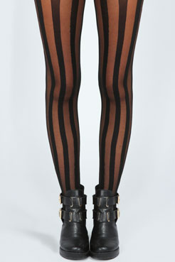 Jenna Sheer With Solid Thick Stripe Tights at boohoo.com