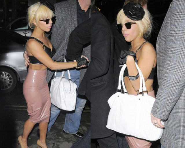 Trendy Lady Gaga Bowknot Stud Pure Soft Leather Gloves New UK   eBay