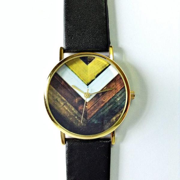 jewels wood chevron chevron chevron watch jewelry fashion style accessories leather watch handmade etsy