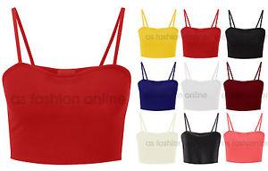 New Ladies Plain Strappy Sleeveless Crop Vest Bralet Womens Top Size UK 6-12 | eBay