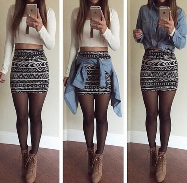 shirt white crop tops skirt shoes