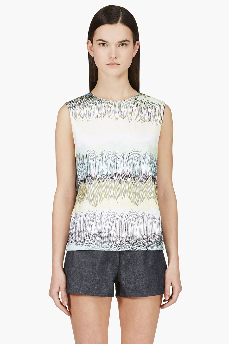 kenzo white and yellow embroidered scribble tank top