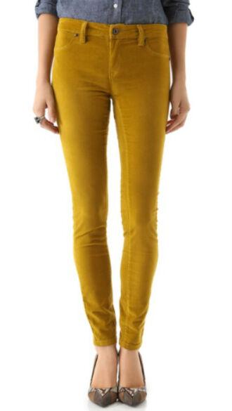 pants velour mustard mellow yellow skinny pants corduroy velvet yellow pants yellow jeans