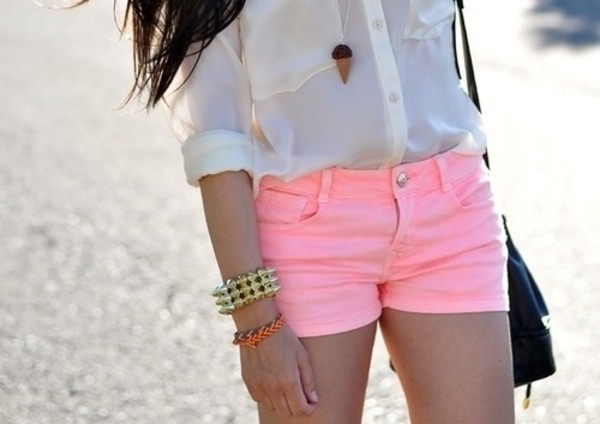 shorts colorful pink beach summer pants